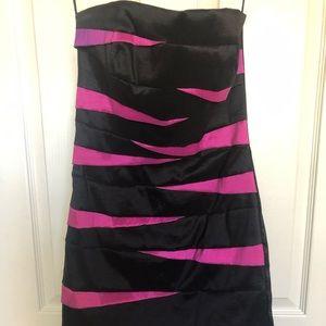 Black/Magenta Strapless Dress